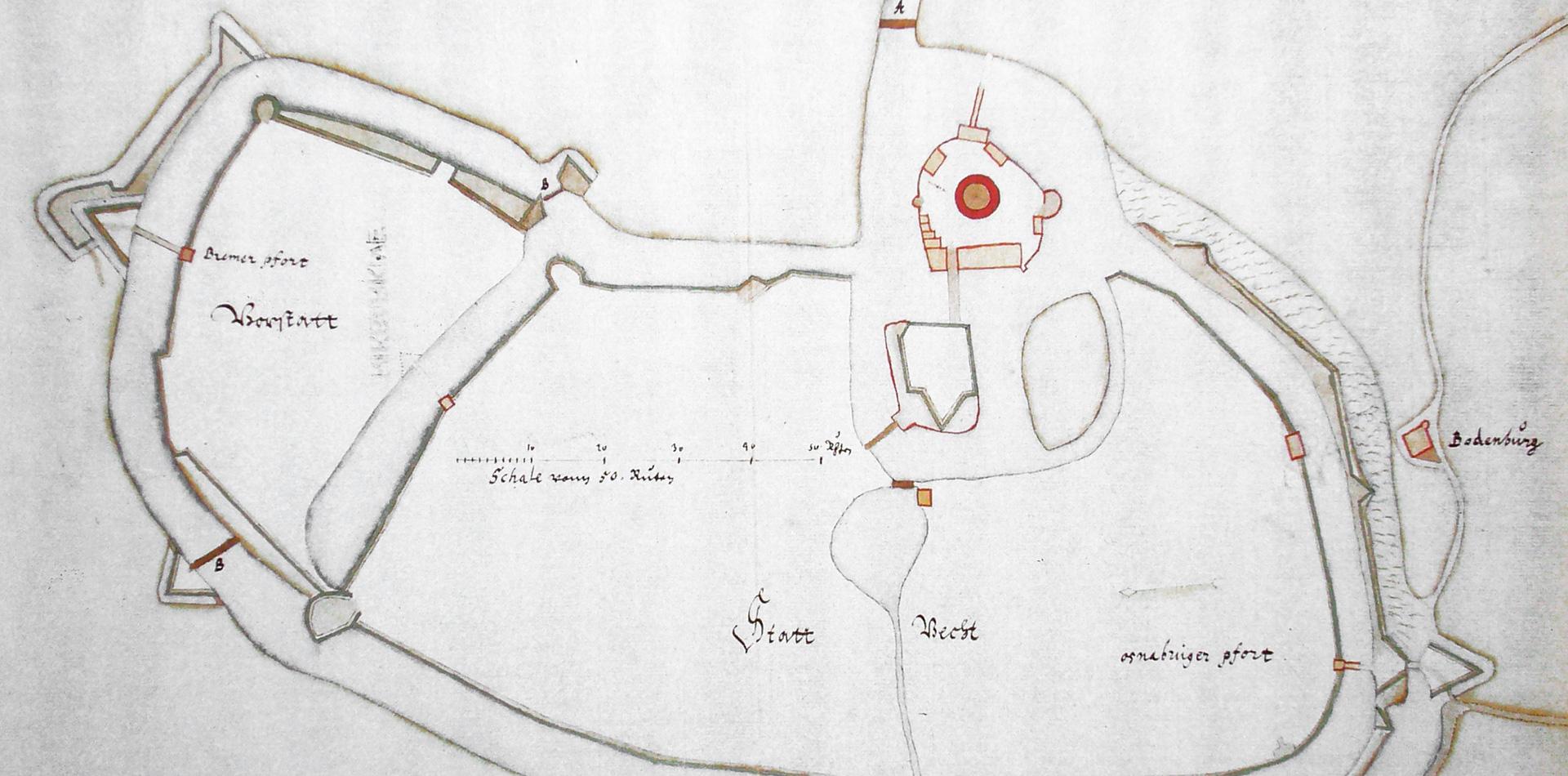Plan Vechtas aus der »zweiten Schwedenzeit« um 1637