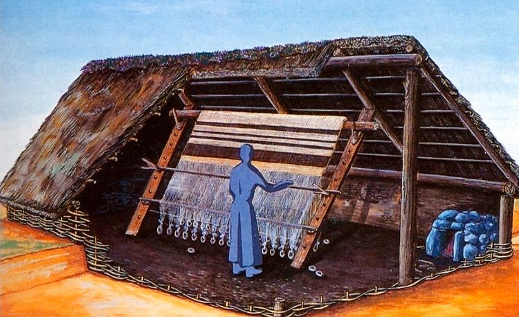 Illustration eines Grubenhauses mit Webstuhl